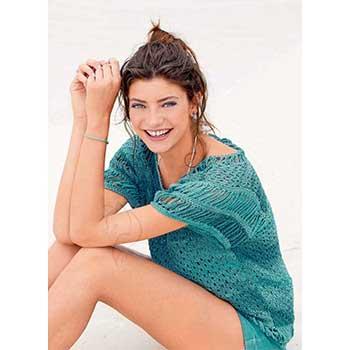 Вязание для женщин. Пуловер спицами с планками, связанными крючком