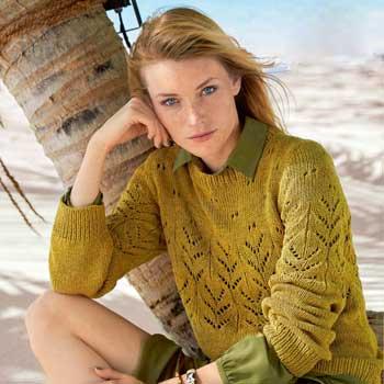 Вязание для женщин. Пуловер спицами цвета карри, схема и описание