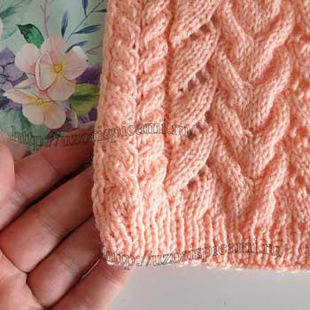 Красивый узор спицами с косами для пуловера, схема узора