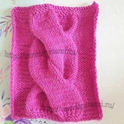 Объемная коса спицами на 30 петлях для пуловера, схема узора