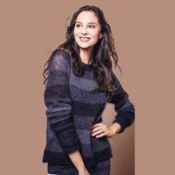 Вязание для женщин. Полосатый пуловер спицами их мохера