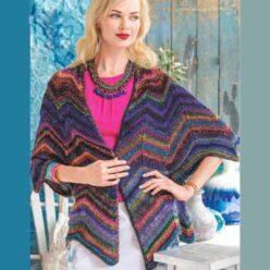 Вязание для женщин. Разноцветный жакет спицами зигзагом