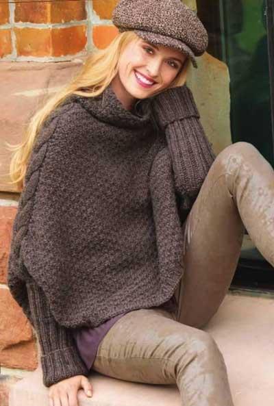 Вязание для женщин Коричневый пуловер - накидка спицами