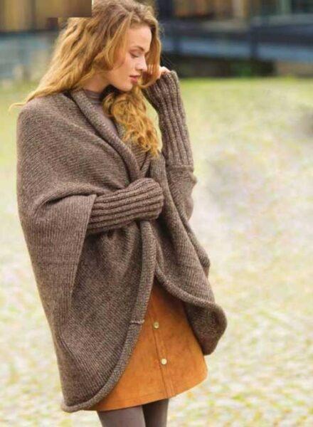 Вязание для женщин Просторный жакет спицами