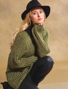 Вязание для женщин. Пуловер спицами реглан с двухцветным патентными узором