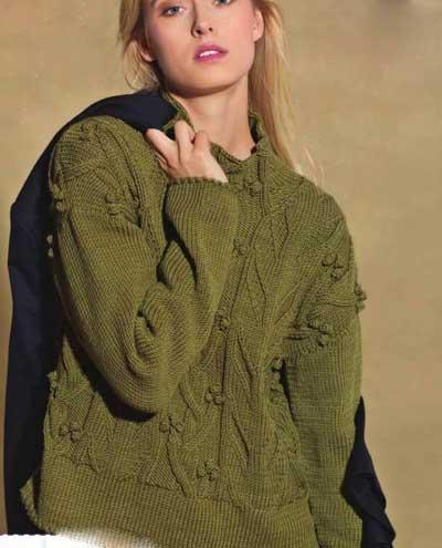 Вязание для женщин Пуловер спицами с арановым узором