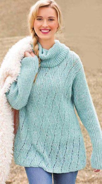 Вязание для женщин Пуловер с ромбами и резинкой спицами из альпаки