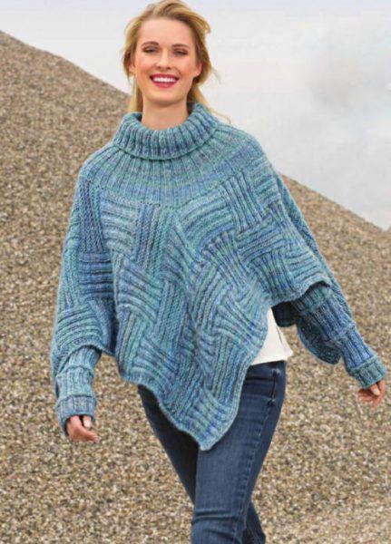 Вязание для женщин Пончо и митенки голубого меланжевого цвета спицами