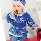 Вязание для малышей ПУЛОВЕР И ШАПОЧКА СПИЦАМИ ЖАККАРДОВЫМ УЗОРОМ