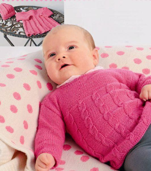 Вязание для малышей ТУНИКА И ШАПОЧКА СПИЦАМИ