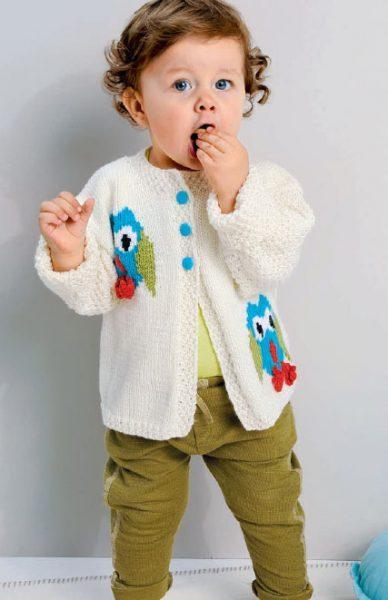 Вязание для малышей. Жакет спицами с мотив Сова и шарфик спицами