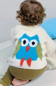 Вязание для малышей БЕЛЫЙ ЖАКЕТ С МОТИВОМ СОВА И ШАРФИК СПИЦАМИ