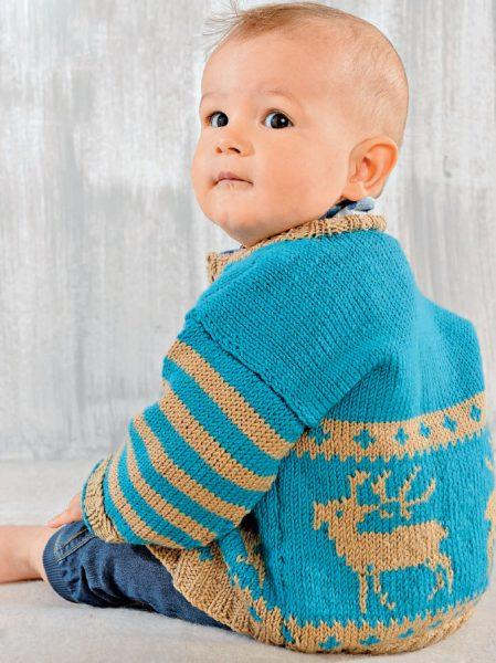 Вязание для малышей ЖАКЕТ СПИЦАМИ С МОТИВОМ «ЛОСИ» И ШАРФ-КАПЮШОН И ШАРФ-КАПЮШОН