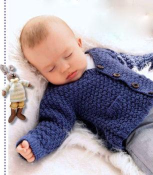 Вязание для малышей. СИНИЙ ЖАКЕТИК СПИЦАМИ НА ПУГОВИЦАХ
