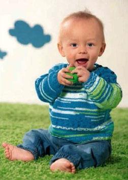 Вязание для малышей. ПУЛОВЕР ИЗ ПРЯЖИ СЕКЦИОННОГО КРАШЕНИЯ