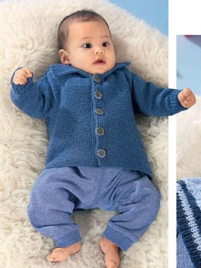 Вязание для малышей. СИНИЙ ЖАКЕТ СПИЦАМИ С ВОРОТНИКОМ
