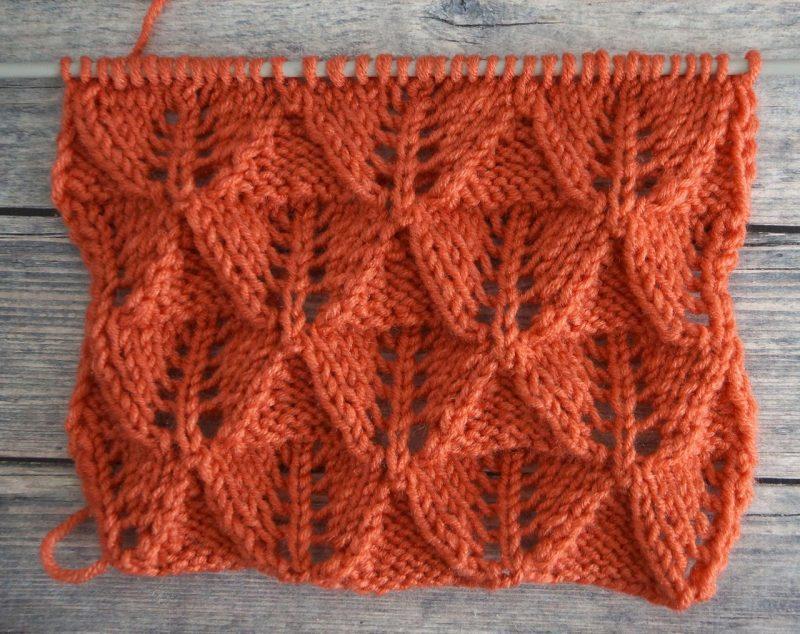 Схема вязания спицами, ажурные листья + видео
