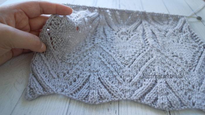 Схема вязания спицами, ажурный и рельефный узор