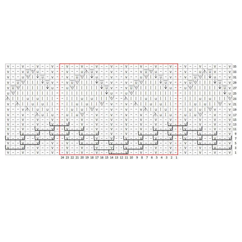 Схема вязания спицами, японский узор