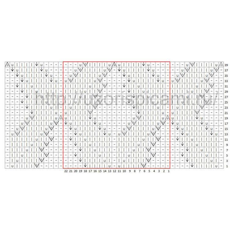 Схема вязания спицами, ажурные ромбы