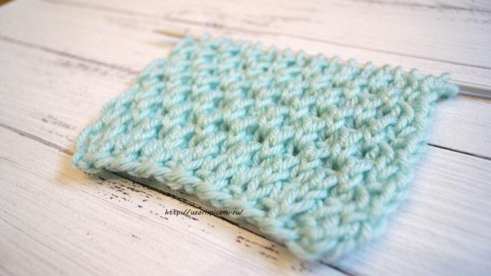 Объемный двухсторонний узор спицами для шарфов, шапок, снудов