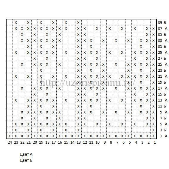 Схема вязания спицами ленивый жаккард Ромбы