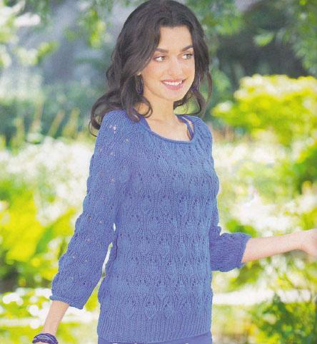 Синий пуловер регланом сверху