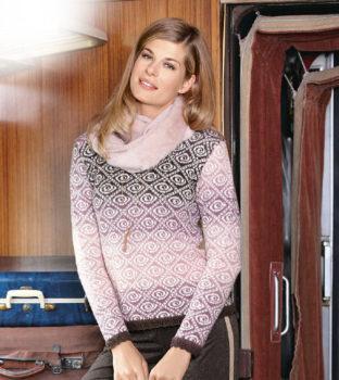 Вязание для женщин. Пуловер жаккардовым узором из секционной пряжи