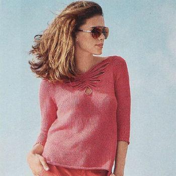 """Вязание для женщин. Летний пуловер с ажурным мотивом """"Бабочка"""""""