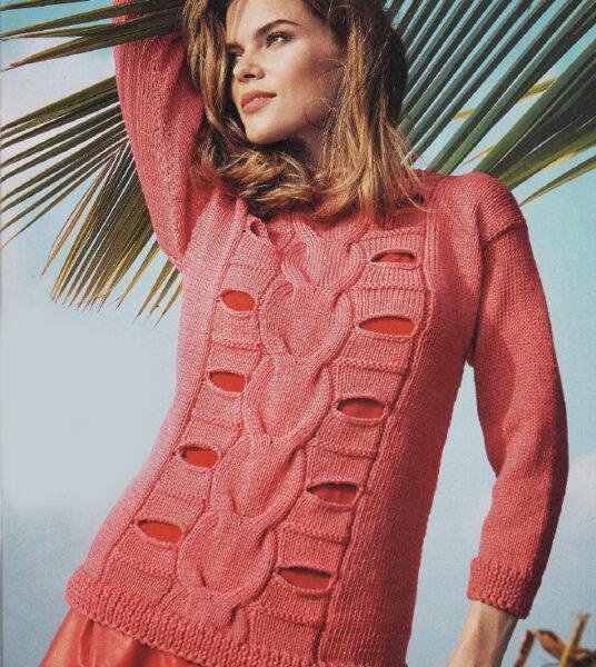 Пуловер спицами со сквозным узором