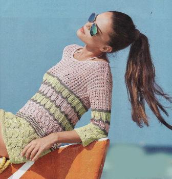 Вязание для женщин. Ажурная летняя туника спицами в полоску