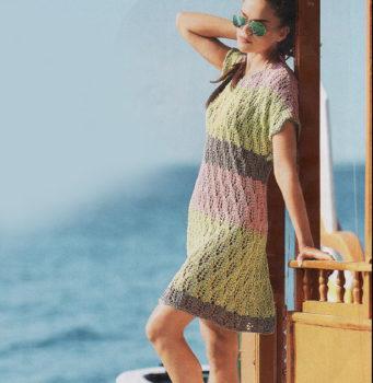 Вязание для женщин. Летнее ажурное платье в полоску спицами