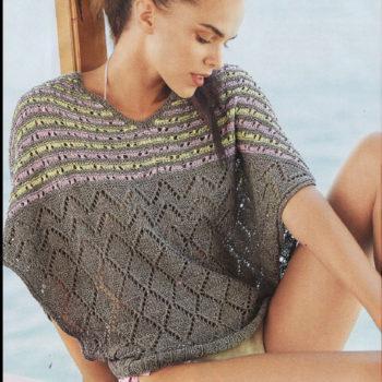 Вязание для женщин. Летний пуловер Летучая мышь спицами из шелка