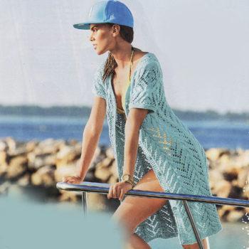 Вязание для женщин. Ажурная летняя накидка (шазюбль) спицами
