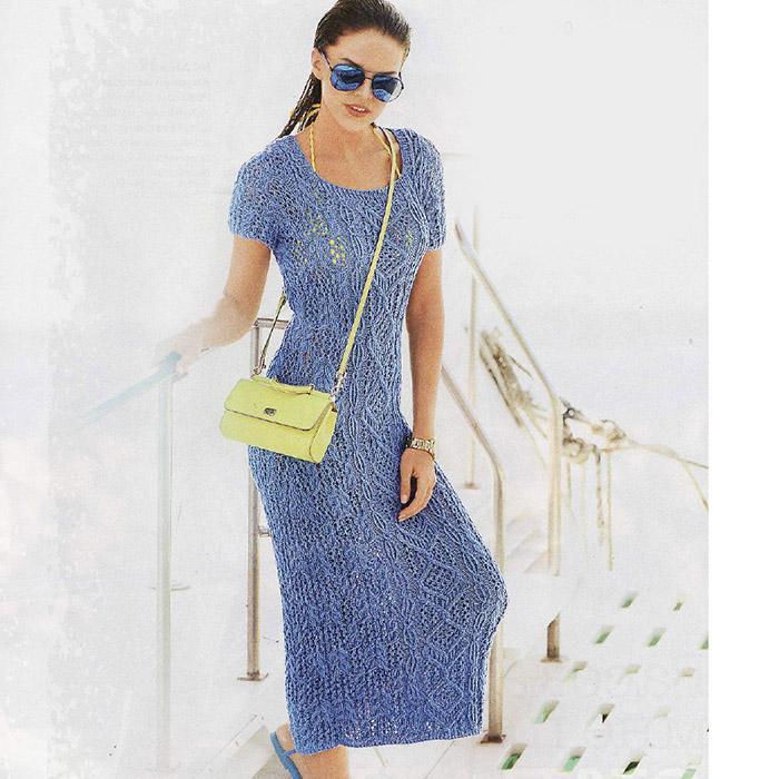 Летнее облегающее ажурное платье спицами