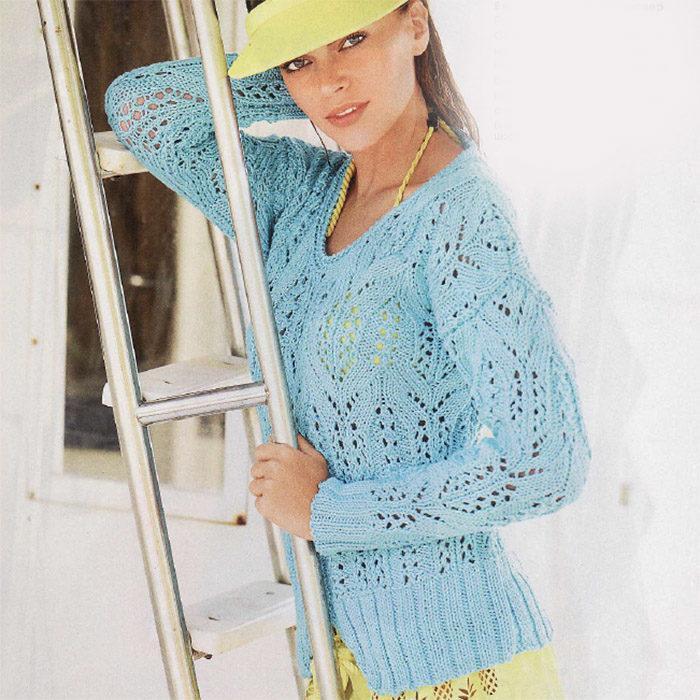Вязание для женщин. Бирюзовый ажурный пуловер спицами из хлопка