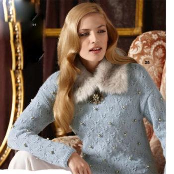 Вязание для женщин. Пуловер с жемчужинами спицами