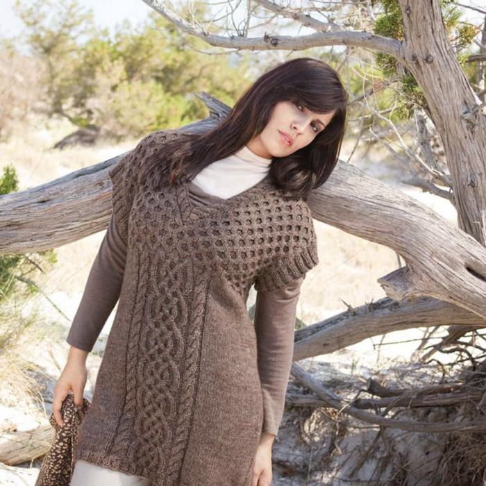 Вязание для женщин. Туника спицами из альпаки