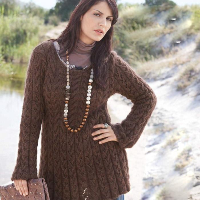 Вязание для женщин. Удлиненный пуловер спицами из мериноса
