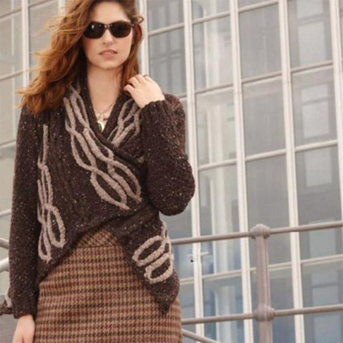 Вязание для женщин. Жакет спицами из мериноса с запахом