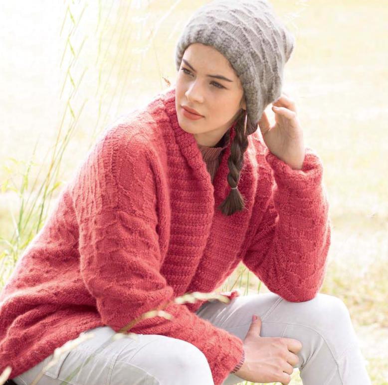 Вязание для женщин. Просторный жакет и шапка спицами