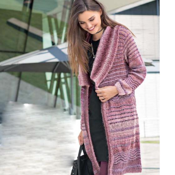 Вязание для женщин. Пальто спицами с сочетанием узоров