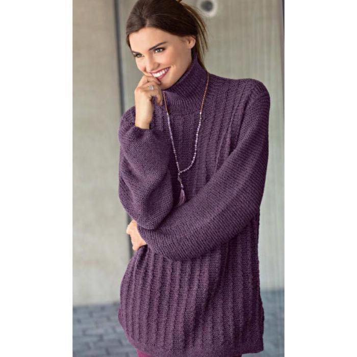 Вязание для женщин. Пуловер оверсайз с «косами»