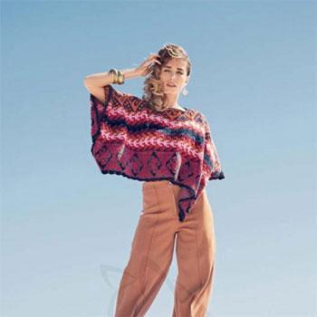 Вязание для женщин. Пончо спицами жаккардовым узором