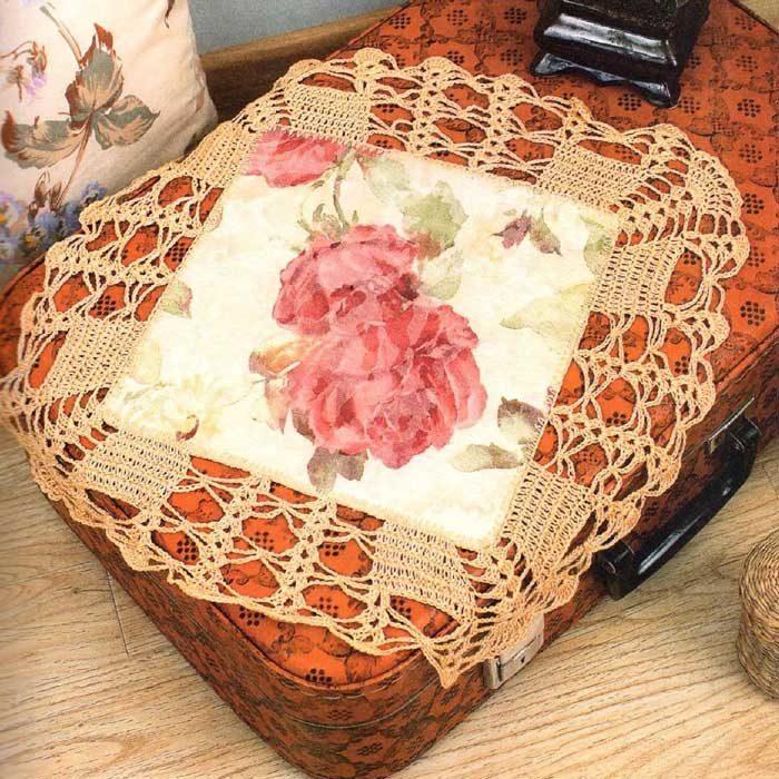 Вязание крючком. Салфетка из ткани с вязанной каймой. Филейное вязание.