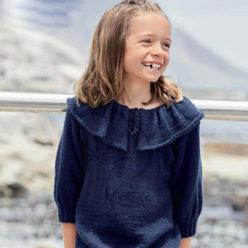 Вязание для детей. Пуловер спицами для девочки