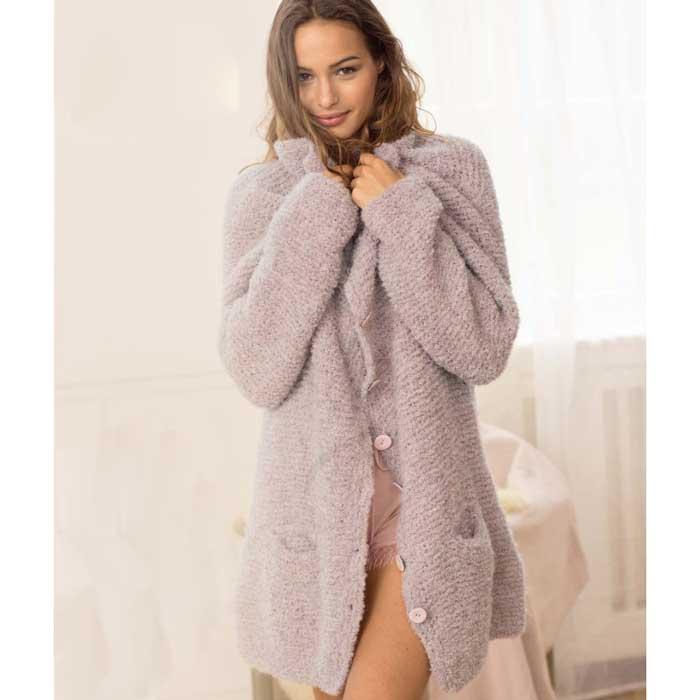 Вязание для женщин. Розовый меланжевый жакет спицами