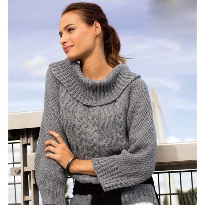 Вязание для женщин. Пуловер спицами с горловиной «Кармен»
