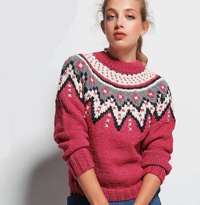 Вязание для женщин. Пуловер спицами с круглой кокеткой