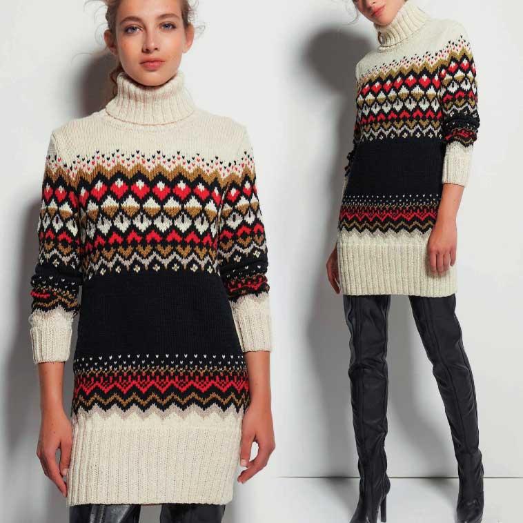 Вязание для женщин. Удлиненный пуловер спицами